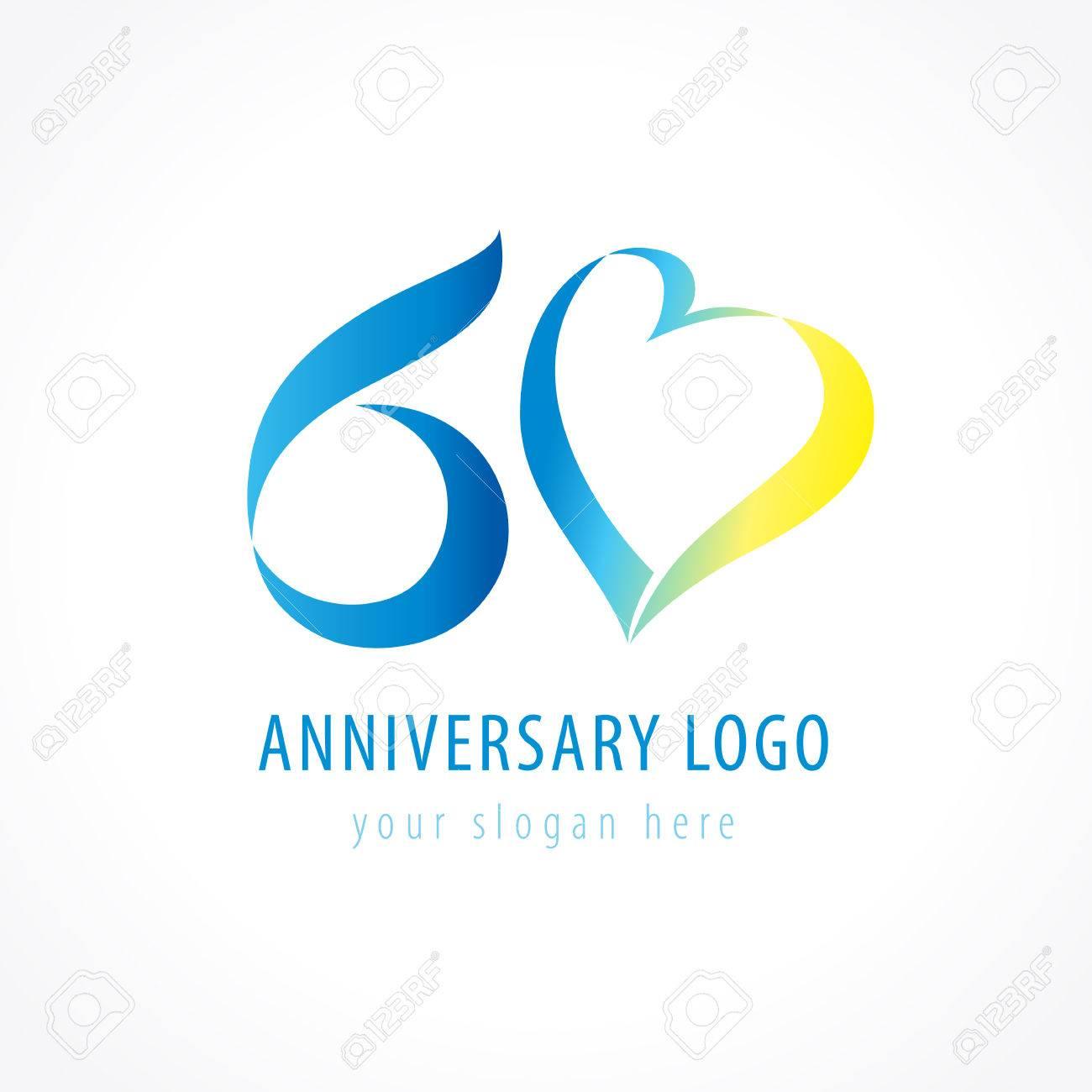 Jubiläum 60 Jahre Alte Herzen Feiern Vektor Ziffer Logo. Lizenzfrei ...