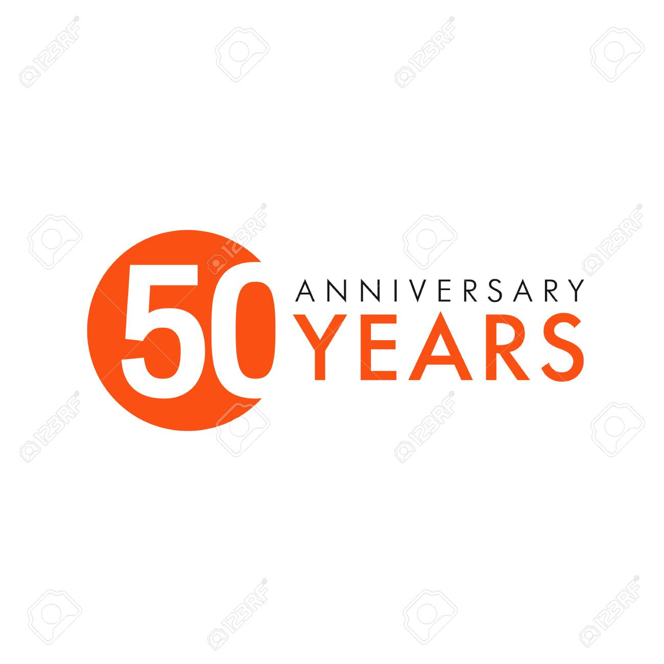 50 Years Old Round Logo Anniversary Year Of 50 Th Vector Banner