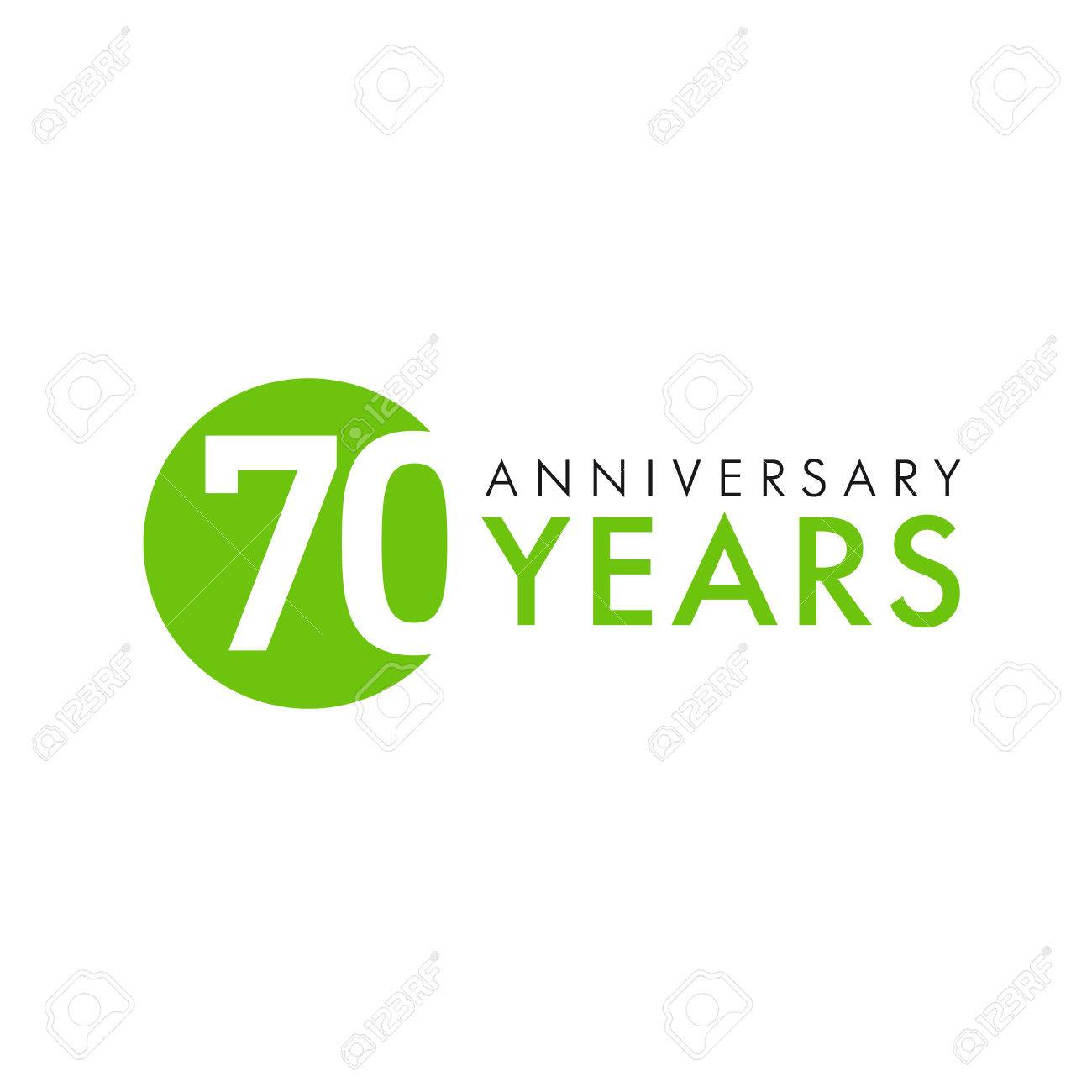 70 Years Old Round Logo Anniversary Year Of The Th Vector Banner Numbers