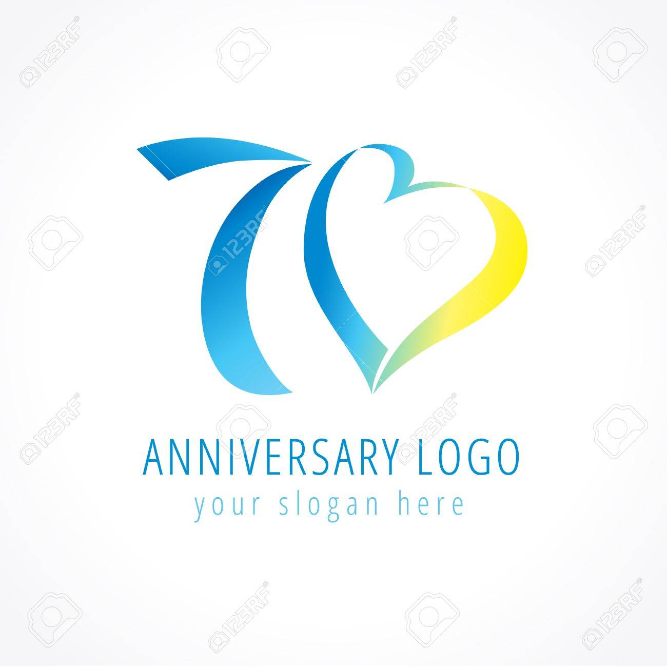 Anniversary 70 Years Old Hearts Celebrating Vector Digit Logo Birthday Greetings With Framed Tape Heart