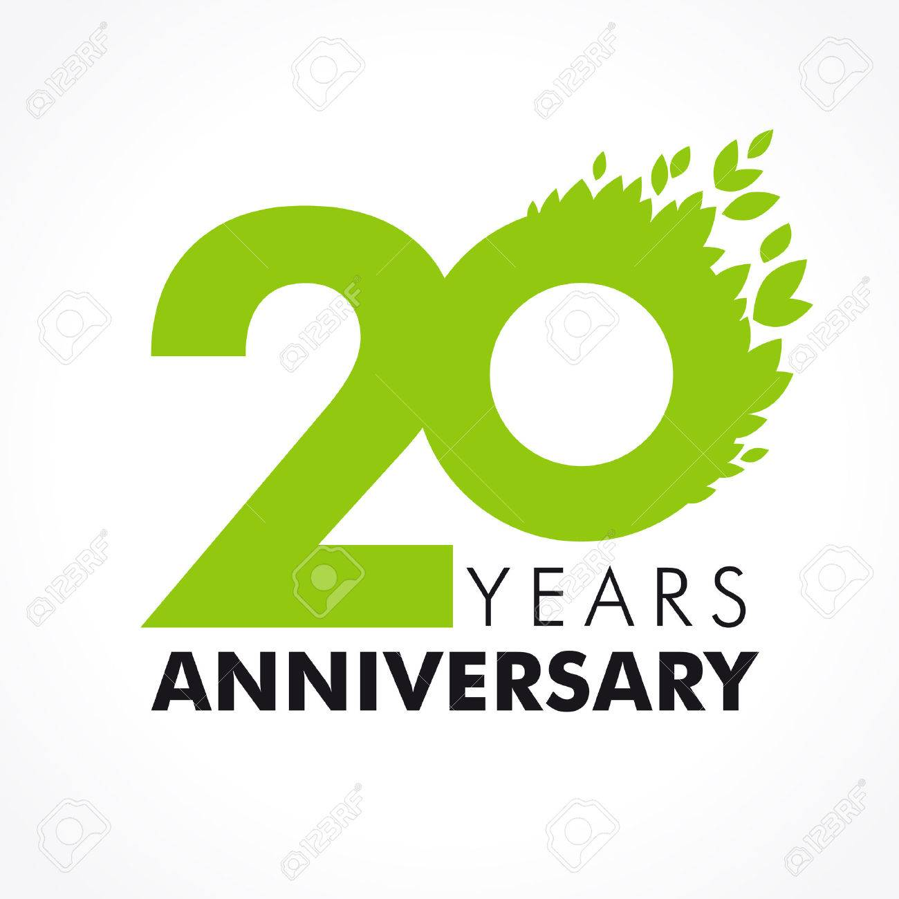 20 Ans Célébrant Le Vert Volant Logo Anniversaire Du 20ème Modèle Vectoriel