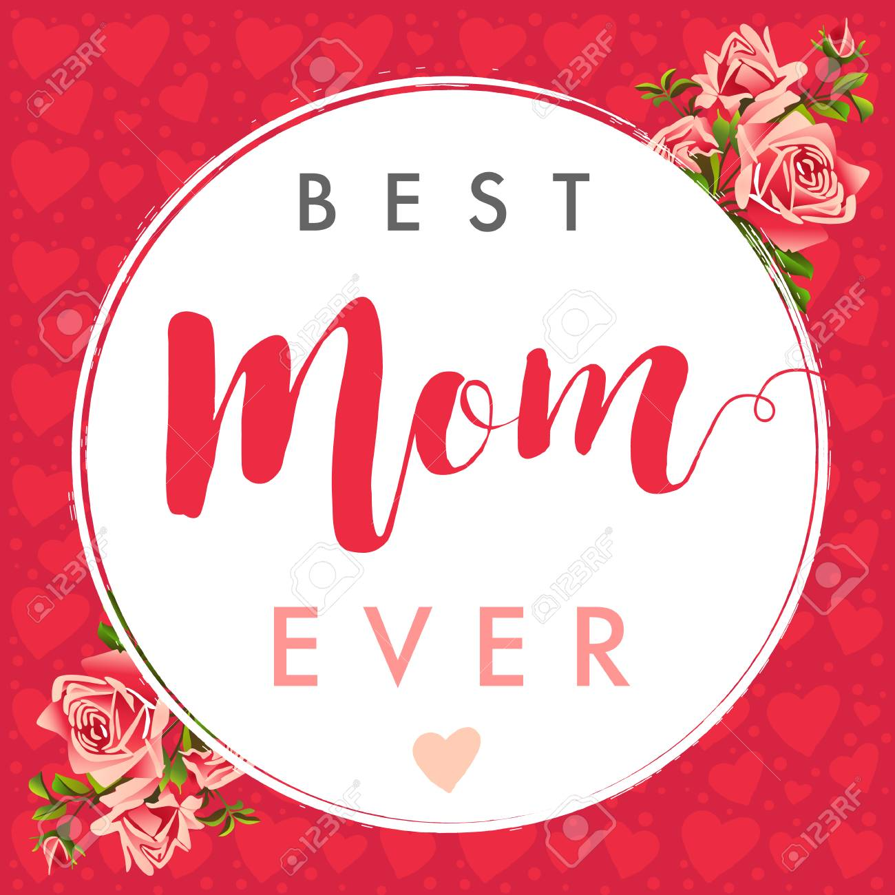 Best Mom Calligraphy Rose Banner Happy Mothers Day Layout Design