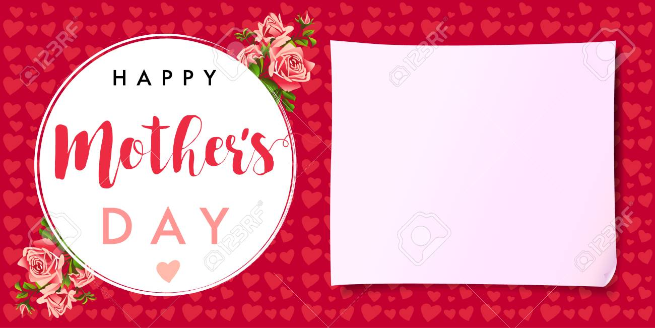 happy mothers day rose love banner greeting card template vector