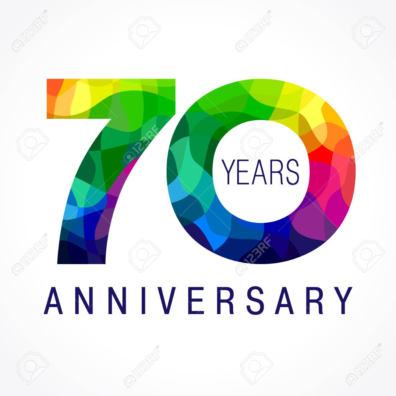 70 Years Old Celebrating Colored Logo Anniversary Year Of Th Vector Template Numbers