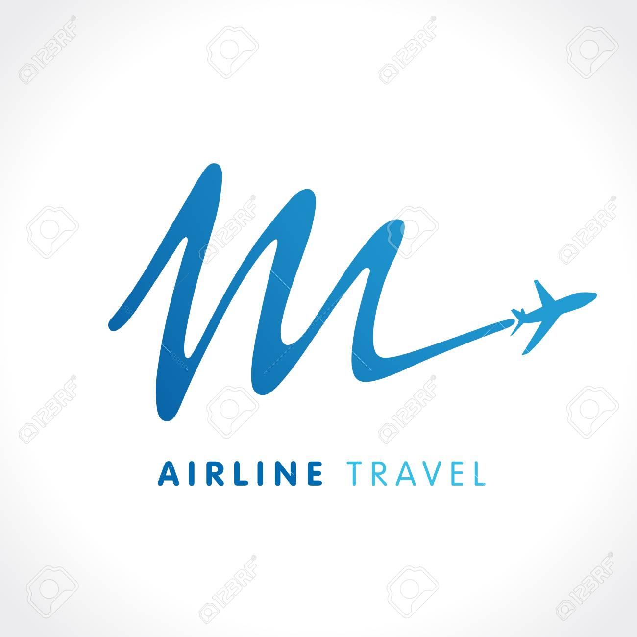 m letter travel company logo airline business travel logo design