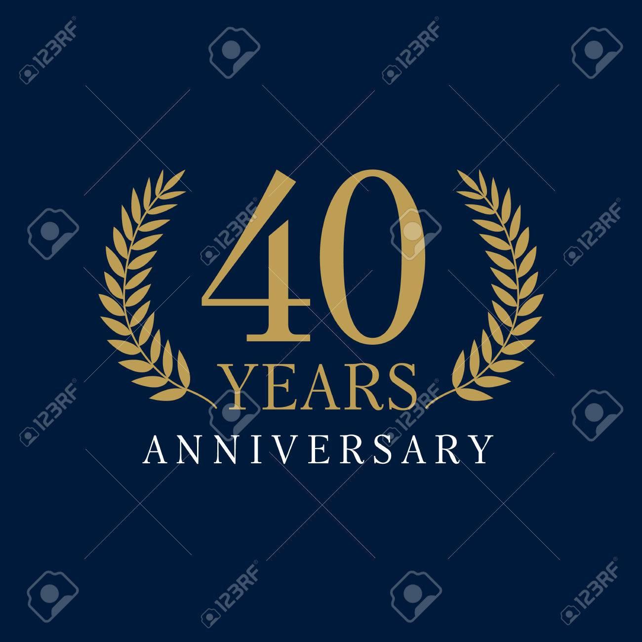 Estremamente 40 Anni Di Lusso Logo. Anniversario Anno Di 40 ° Vettore Oro  NX28
