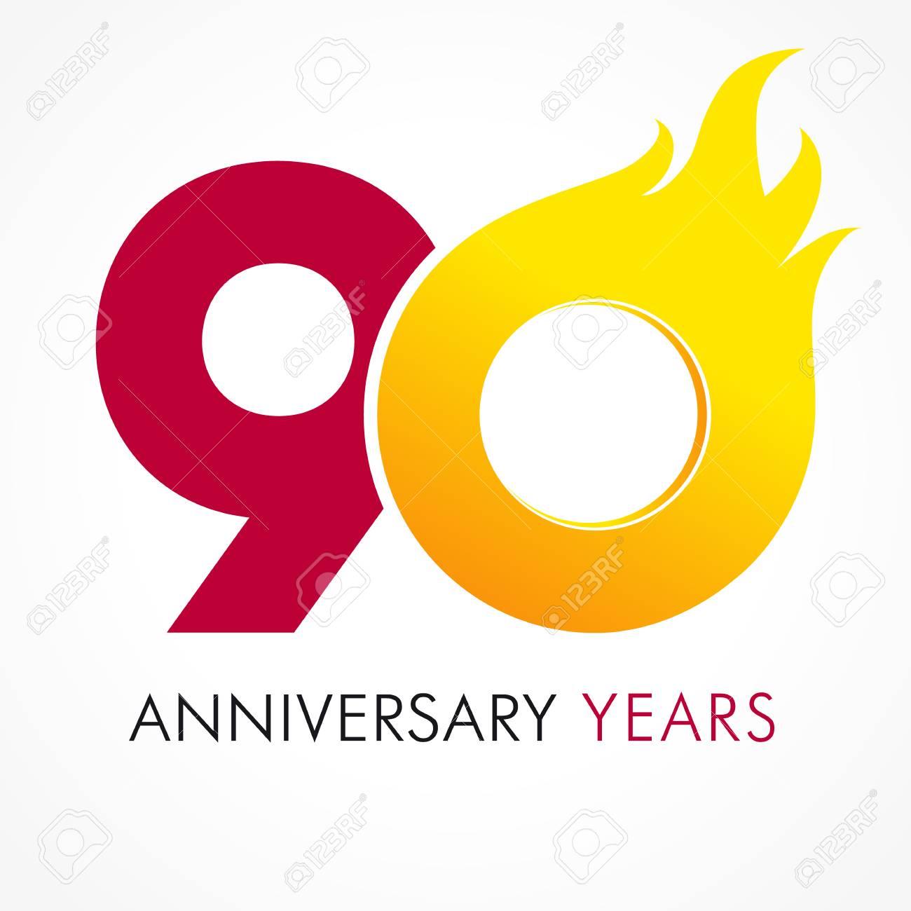 Auguri Di Buon Compleanno 90 Anni.90 Anni Celebra Il Logo Infuocato Anniversario Fiammato L Anno 90 Modello Di Vettore 0 Numeri Flamy Auguri Di Buon Compleanno Fiammeggiante