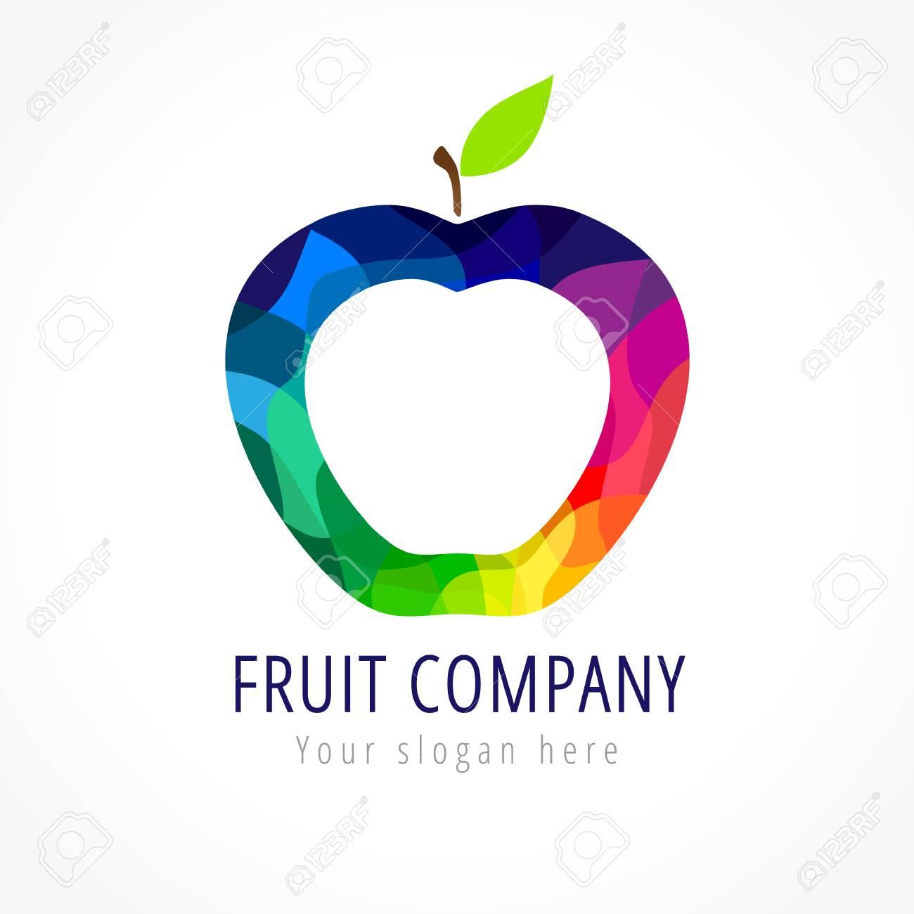 Fruit Unternehmen Vektor-Logo. Buntglasstücke Farbiger Apfel ...