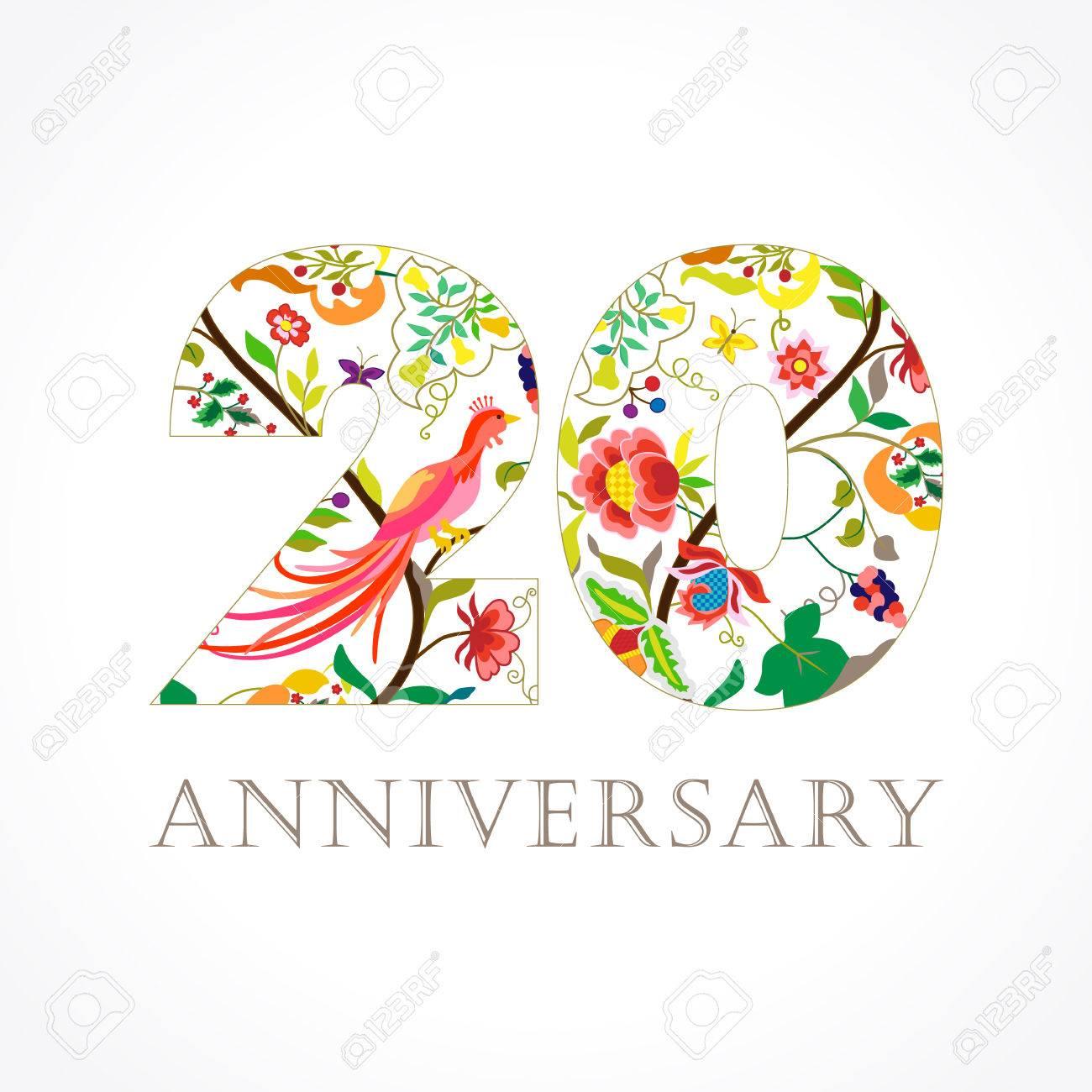 Logo De Fête De Célébrités De 20 Ans Modèle Coloré 20ème Joyeux Anniversaire Fleurs Ethniques Plantes Oiseaux Paradisiaques Ensemble De