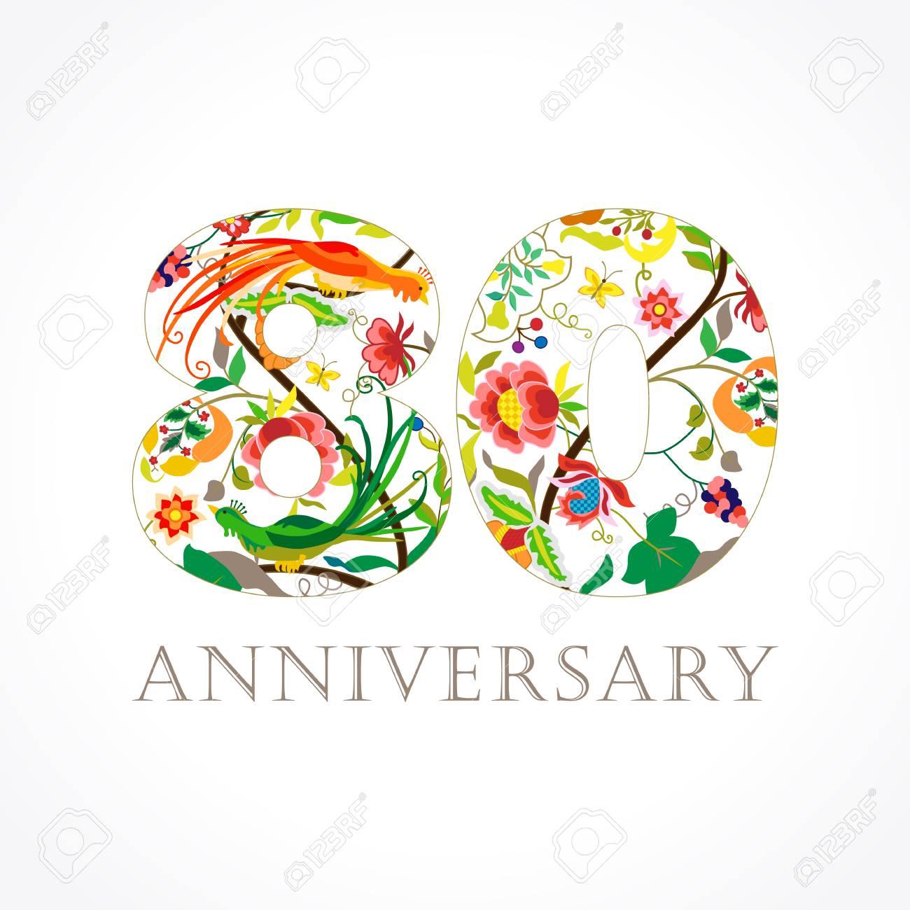 Fiori 80 Anni.Vettoriale 80 Anni Modello Colorato 80 Anniversario Auguri