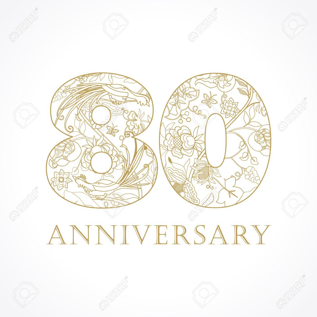 Fiori 80 Anni.Vettoriale 80 Anni Di Lusso Che Celebrano I Numeri Folkloristici