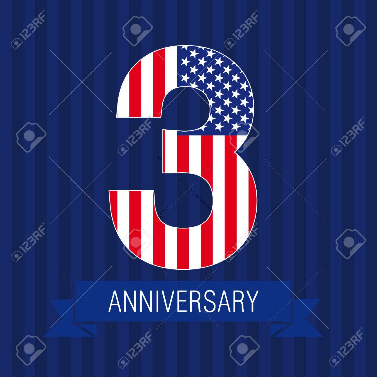 anniversary 3 us flag logo template of celebrating icon of 3