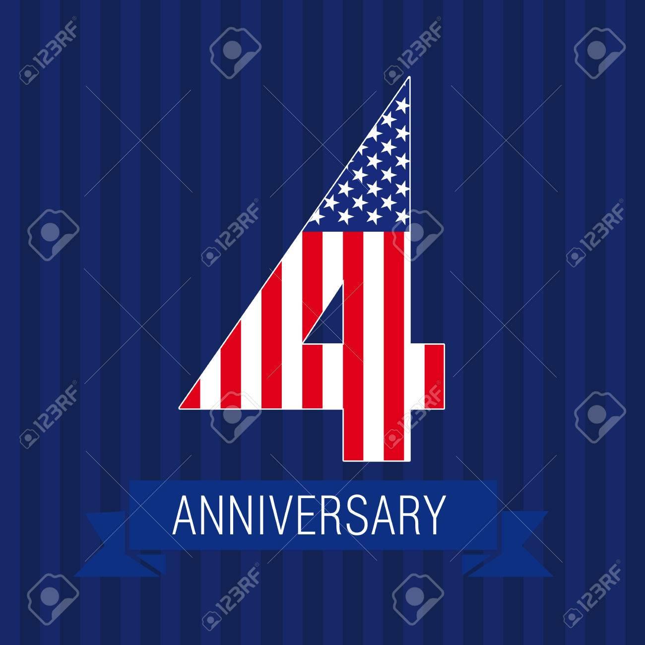 Jubiläum 4 US-Flaggenlogo. Vorlage Der Ikone Des 4. Platzes Als ...