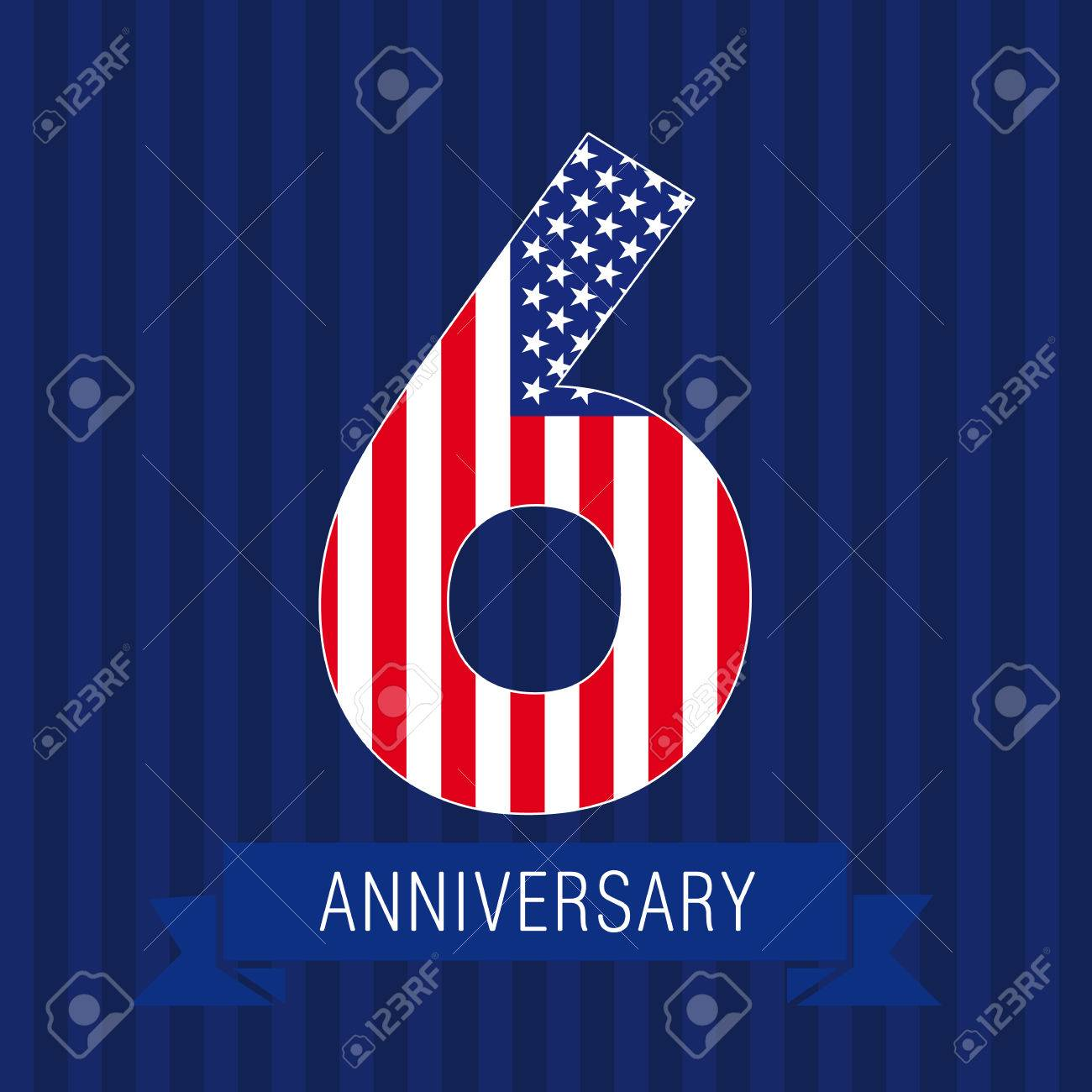 anniversary 6 us flag logo template of celebrating icon of 6th