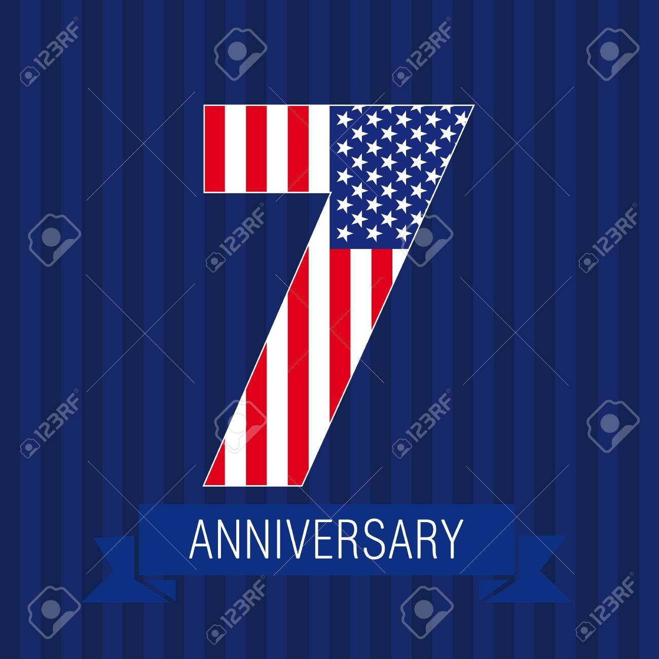 anniversary 7 us flag logo template of celebrating icon of 7th