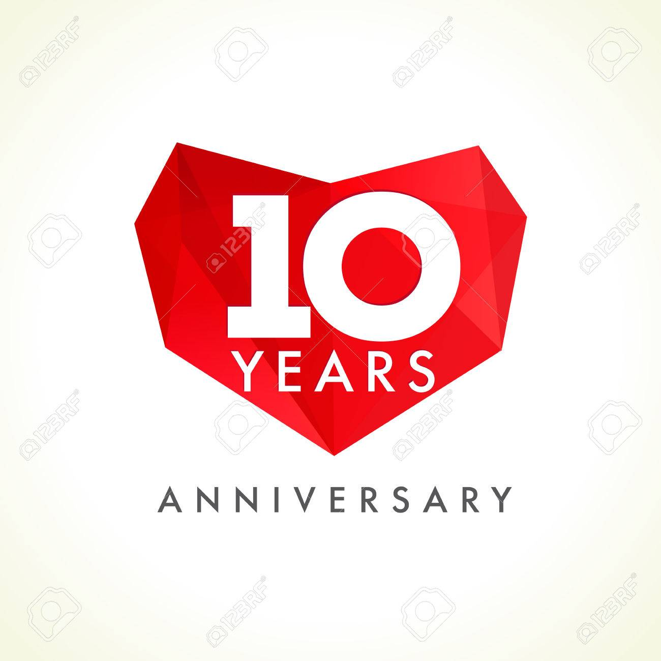 anniversary 10 years old hearts celebrating vector logo birthday