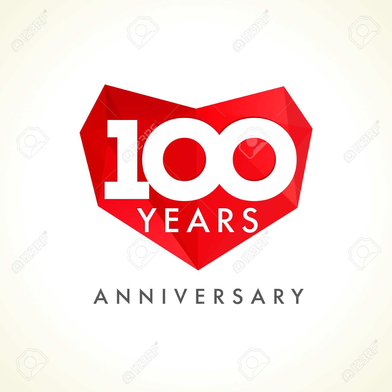 Anniversary 100 Years Old Hearts Celebrating Vector Logo Birthday