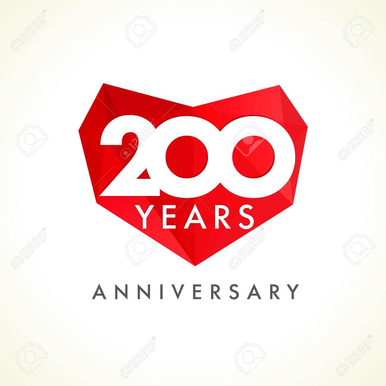 Jahrestag 200 Jahre Alte Herzen, Die Vektorlogo Feiern ...