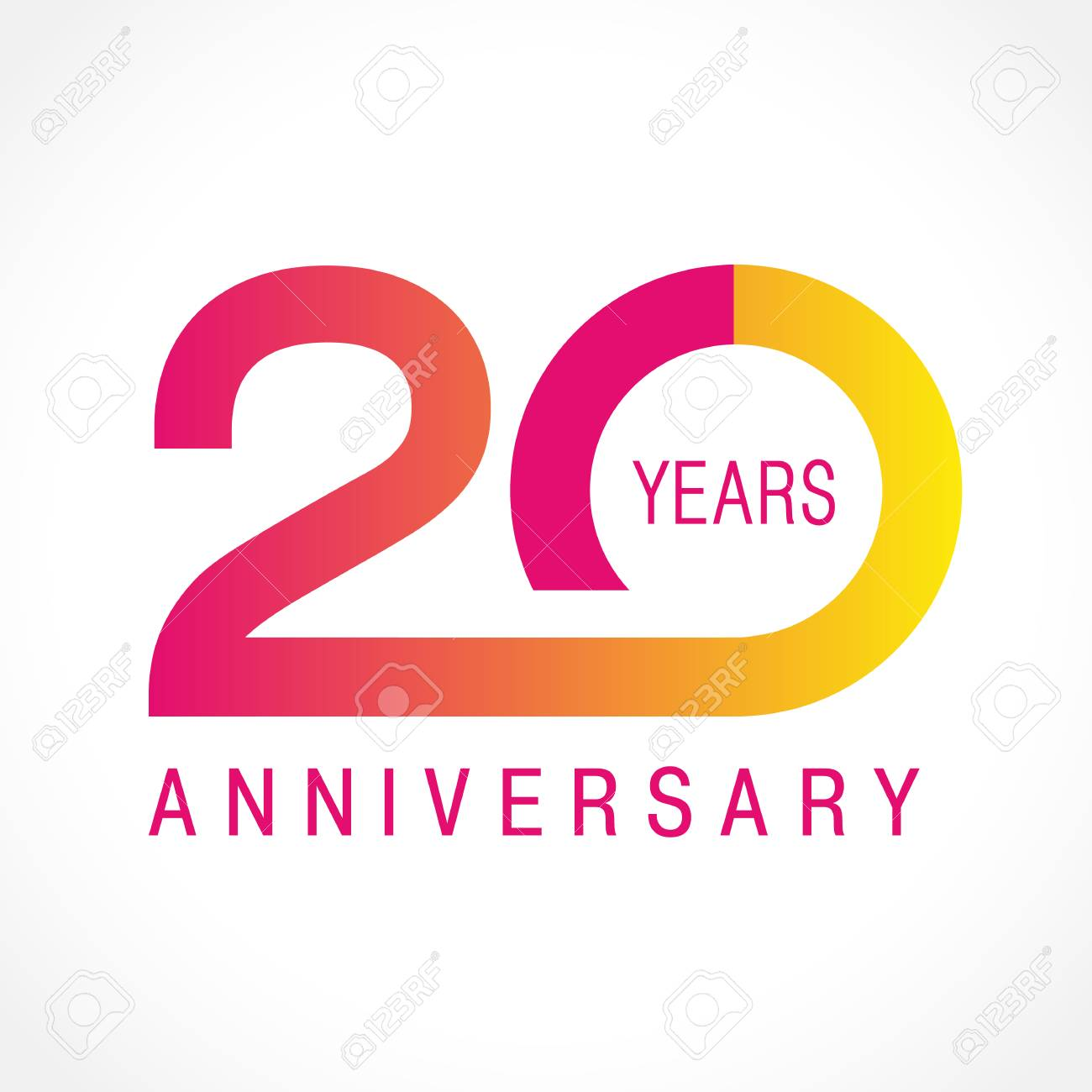 20 Years Old Celebrating Classic Logo Colored Anniversary Th Template Numbers Birthday Greetings