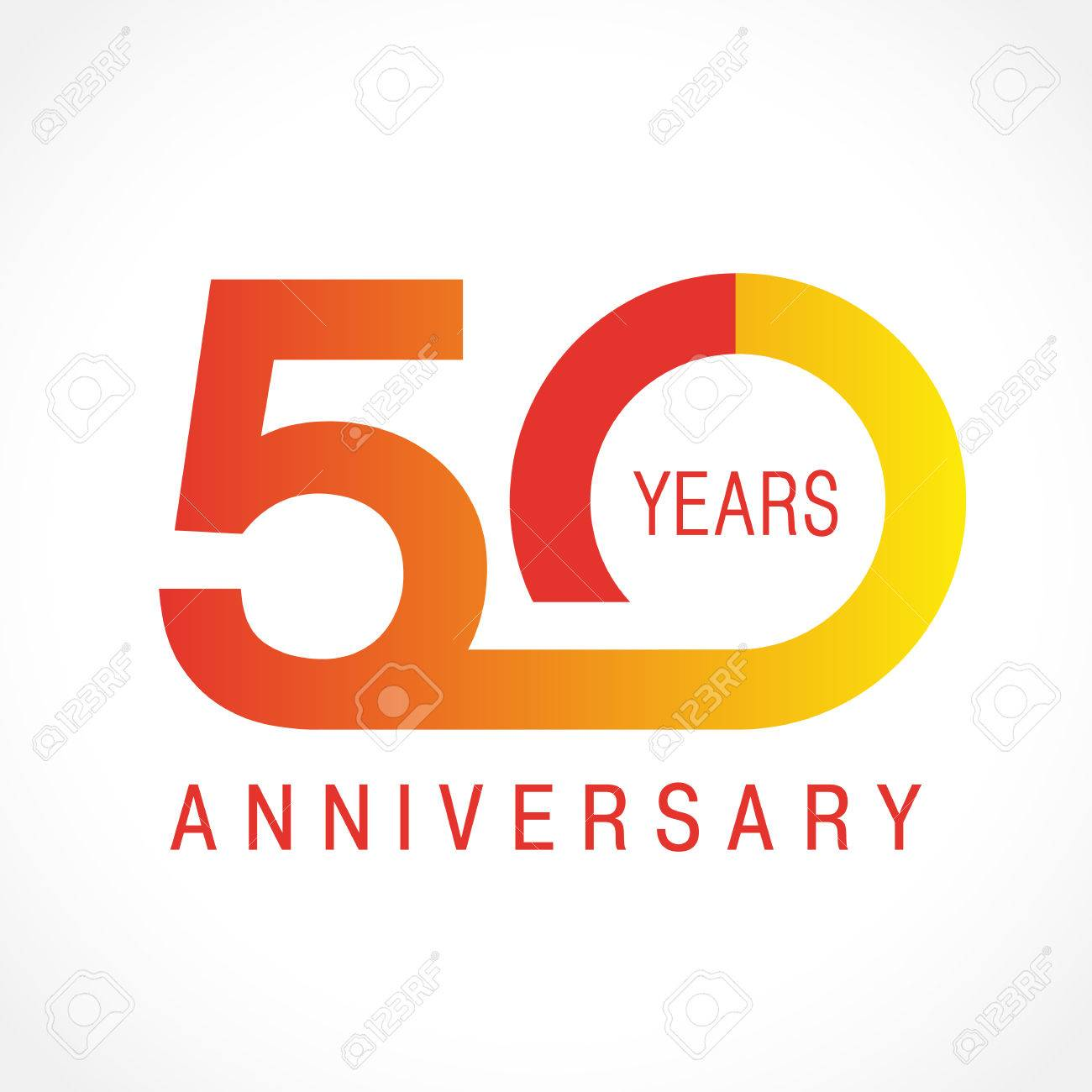50 Years Old Celebrating Classic Logo Colored Anniversary 50