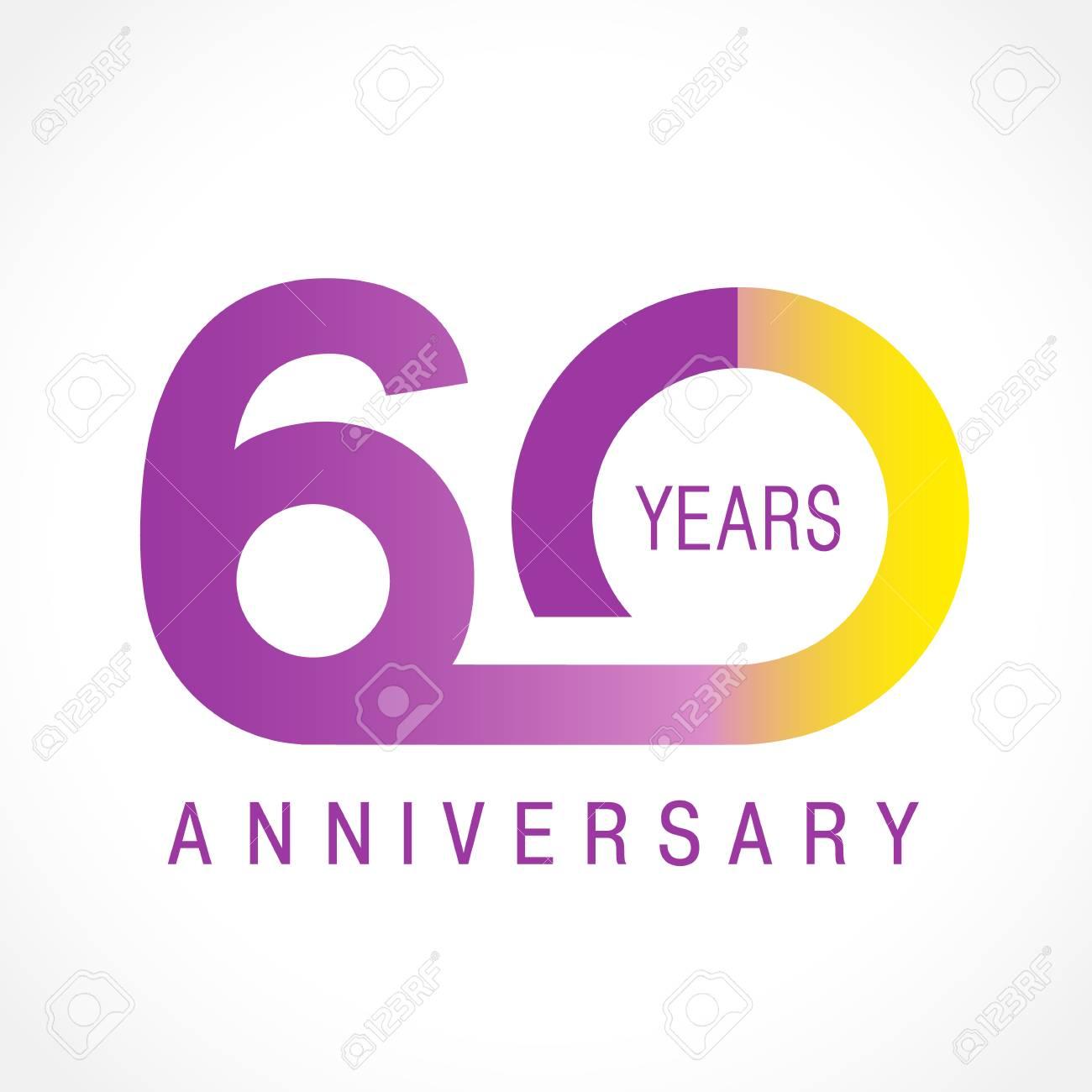 60 Anni Celebra Il Logo Classico Anniversario Colorato 60 Numeri