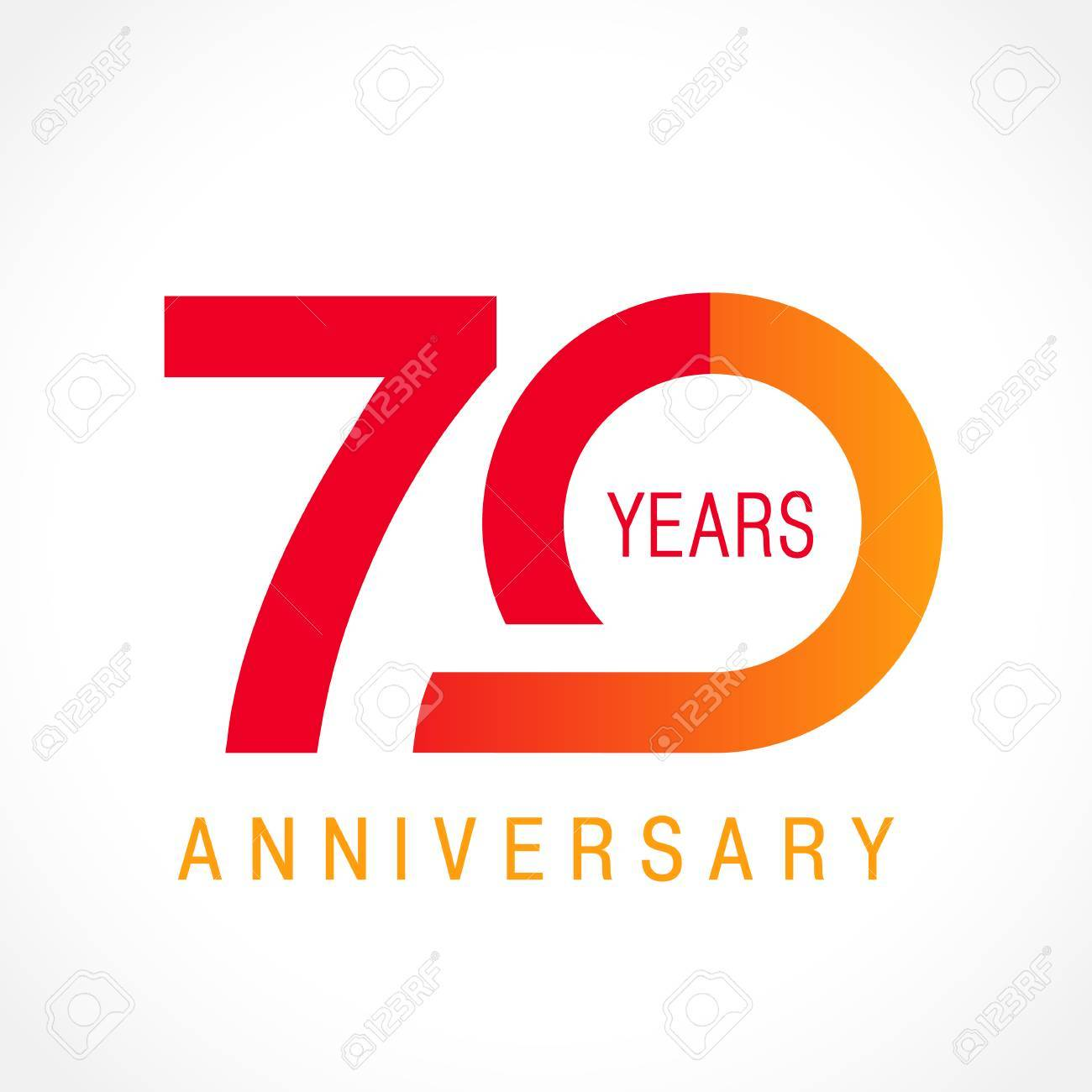 70 Years Old Celebrating Classic Logo Colored Anniversary Th Template Numbers Birthday Greetings