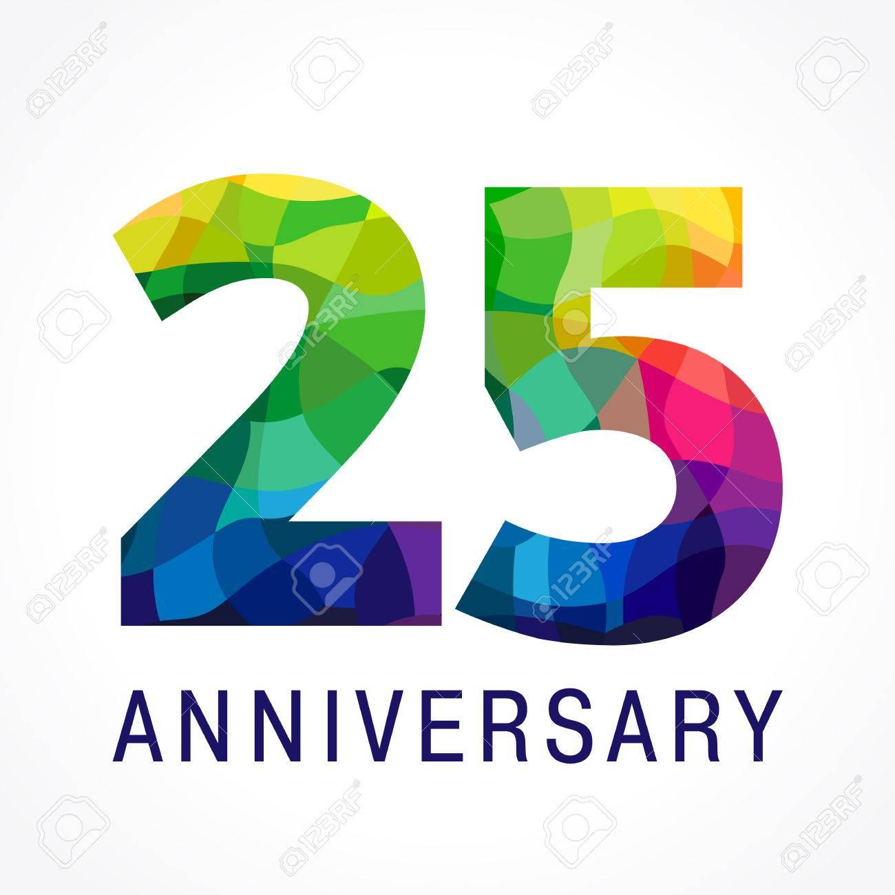 25 歳を祝います 記念番号 25 番目 輝くファセットおめでとうロゴ