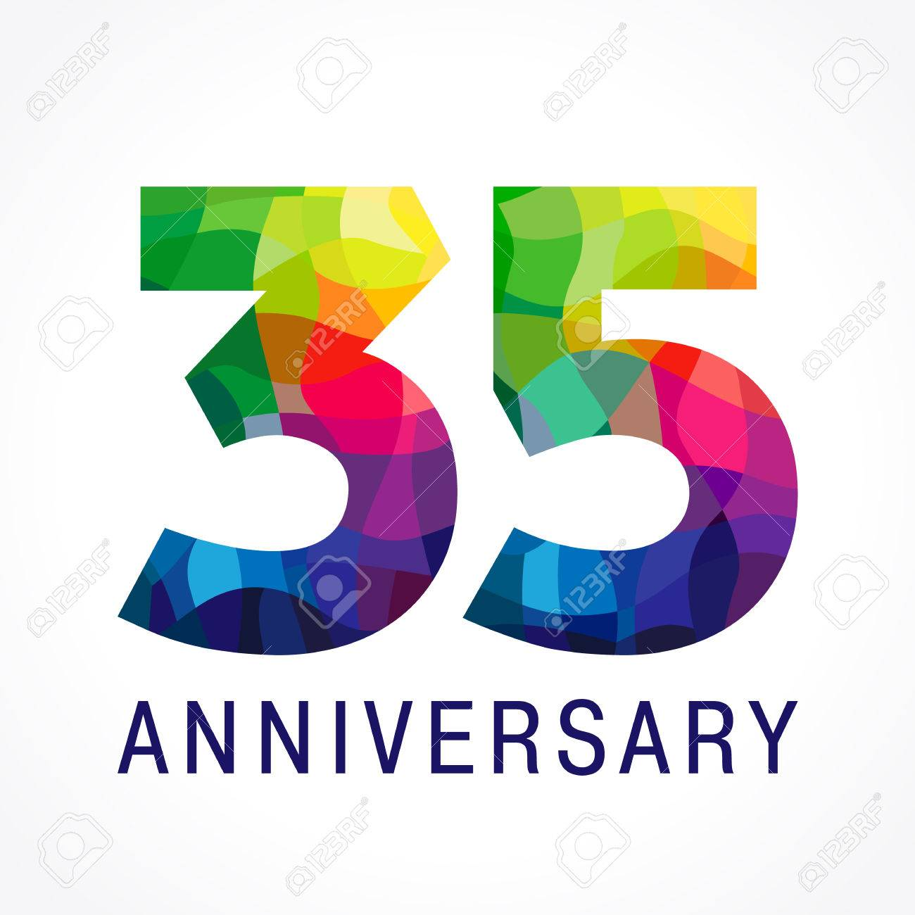 35 Years Old Celebrating Anniversary Numbers 35 Th Shining Facet