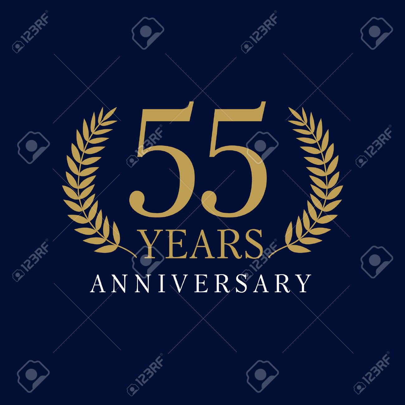 55 Years Old Luxurious Numbers. Congratulations 55th Vector Gold ...