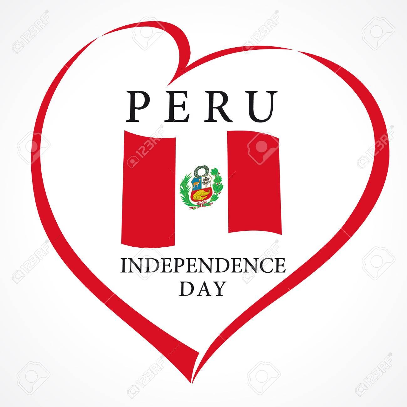 Tarjeta Del Amor Del Día De La Independencia De Perú. Día De La ...