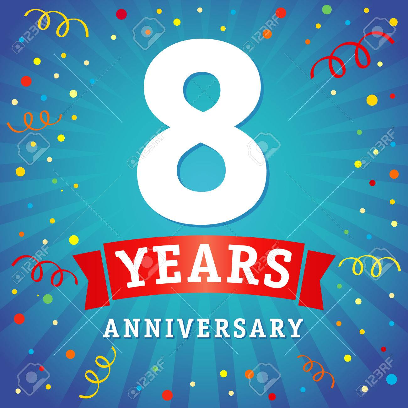 8 Years Anniversary Logo Celebration Card 8th Years Anniversary Royalty Free Cliparts Vectors And Stock Illustration Image 82411184