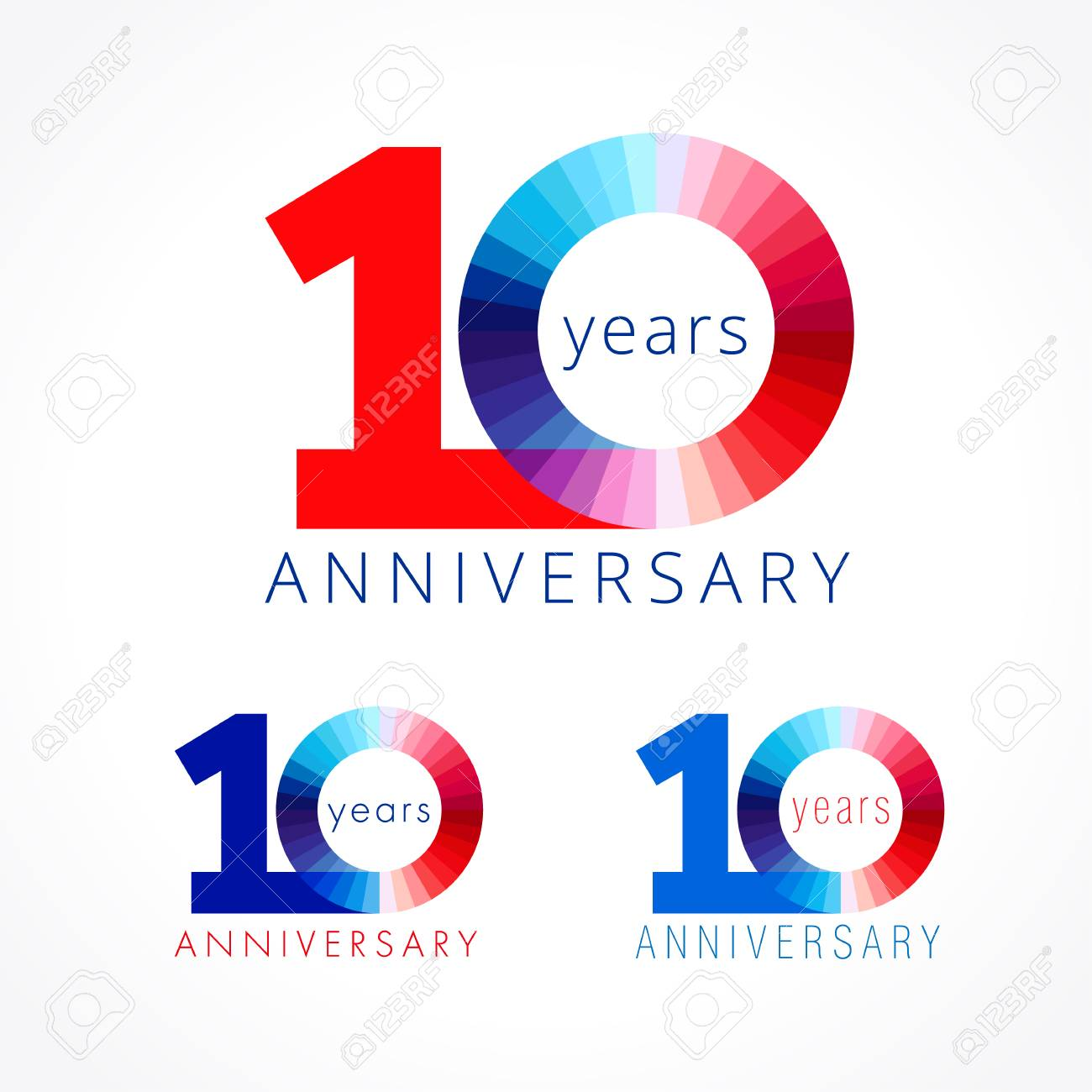 10 years old. Anniversary numbers 10 th. Shining facet congratulating logotype. Greetings celebrates set red, blue, white colors. Stained digit ten 0% off isolated template. - 82795998