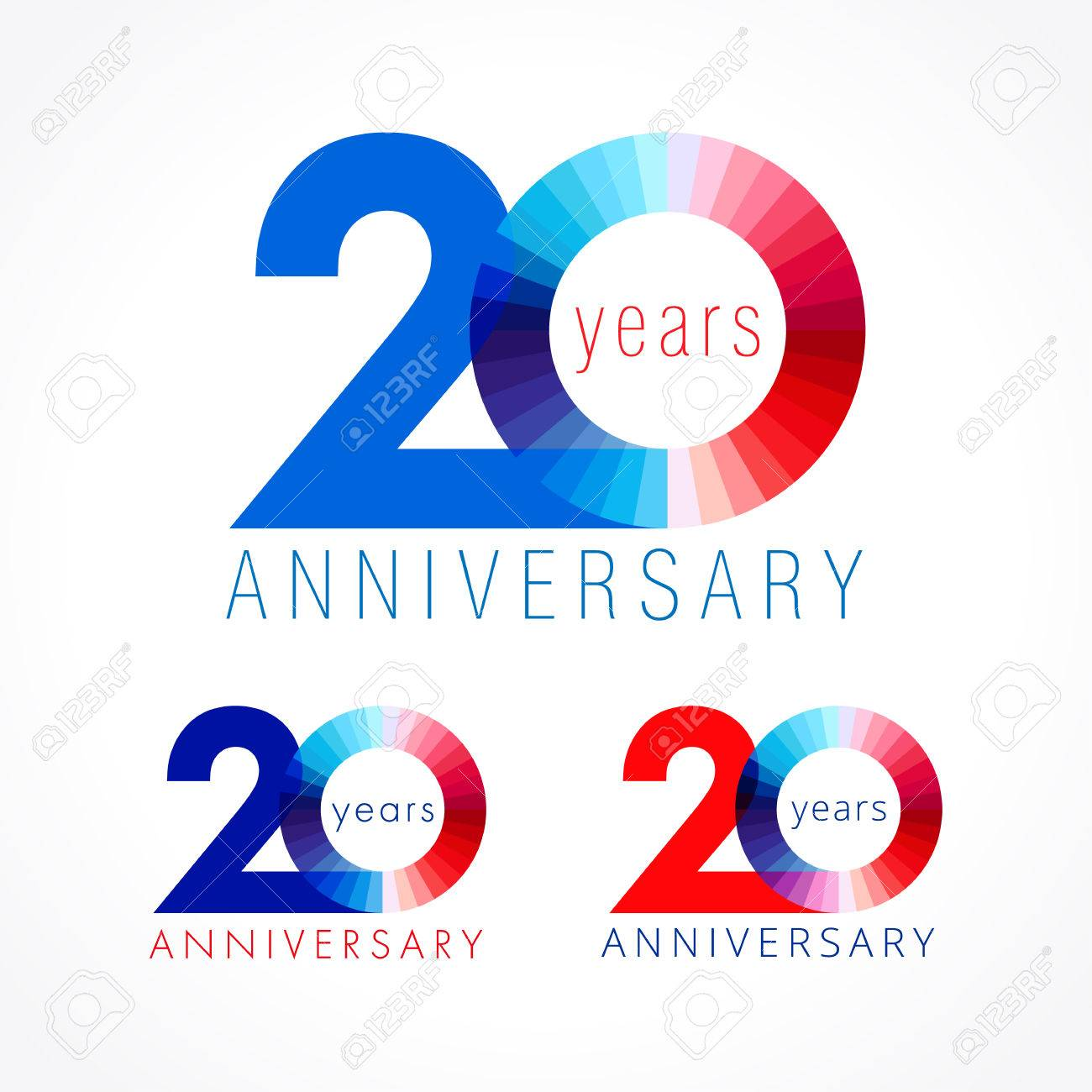 20 years old celebrating. Anniversary numbers 20 th. Shining congratulating logotype. Greetings celebrates set red, blue, white colors. Stained digit twenty, 0,% off isolated template. - 82811514