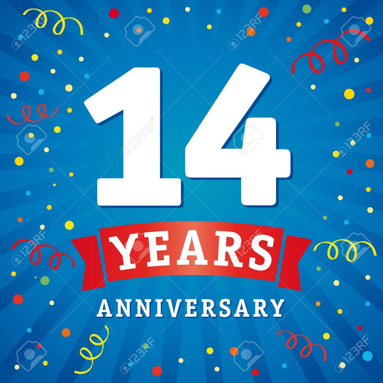Carte De Celebration Du Logo Anniversaire De 14 Ans Fond De Vecteur De 14e Anniversaire Avec Ruban Rouge Et Confettis Colores Sur Les Lignes Radiales Flash Bleu Clip Art Libres De Droits