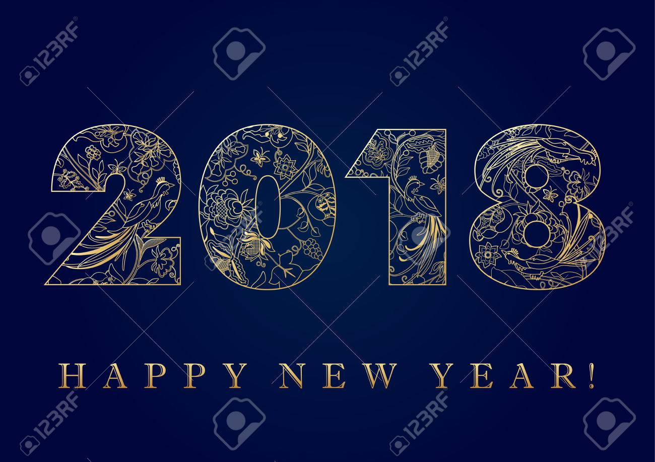 2018 golden folk pattern happy new year card happy holidays 2018 golden folk pattern happy new year card happy holidays card with golden ethnic patterns m4hsunfo
