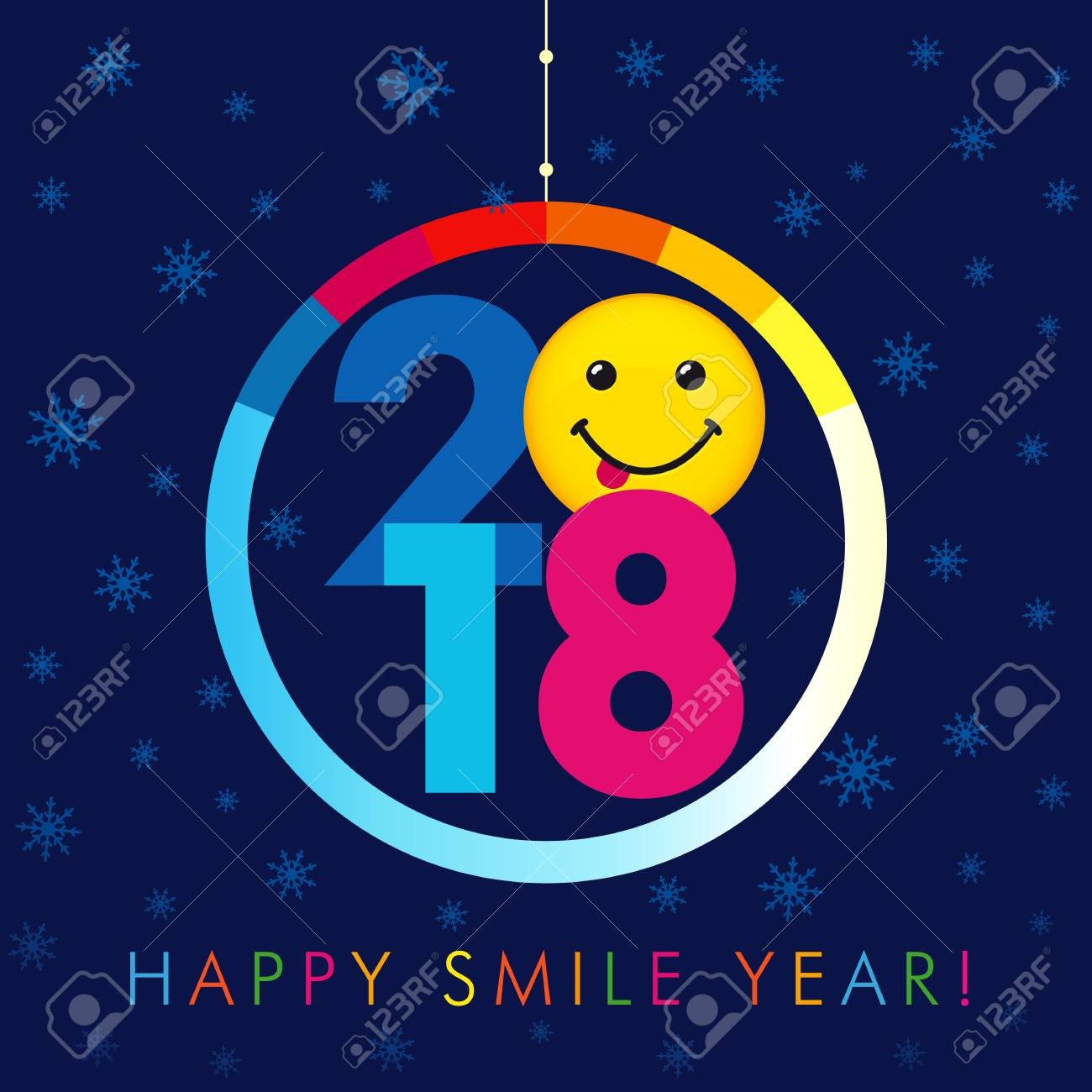 2018 seasons greetings happy smile year card christmas ball 2018 seasons greetings happy smile year card christmas ball with colorful background 2018 numbers kristyandbryce Image collections