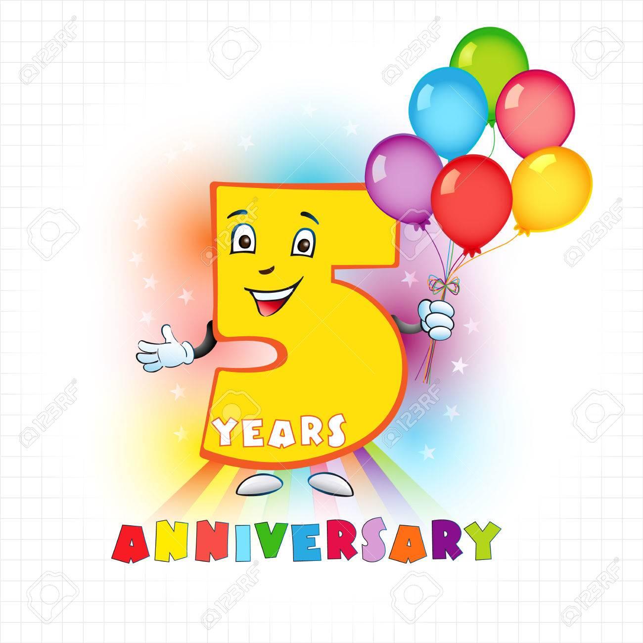 Cinco Años De Logotipo Animado. Logotipo Divertido De 5 Aniversario ...
