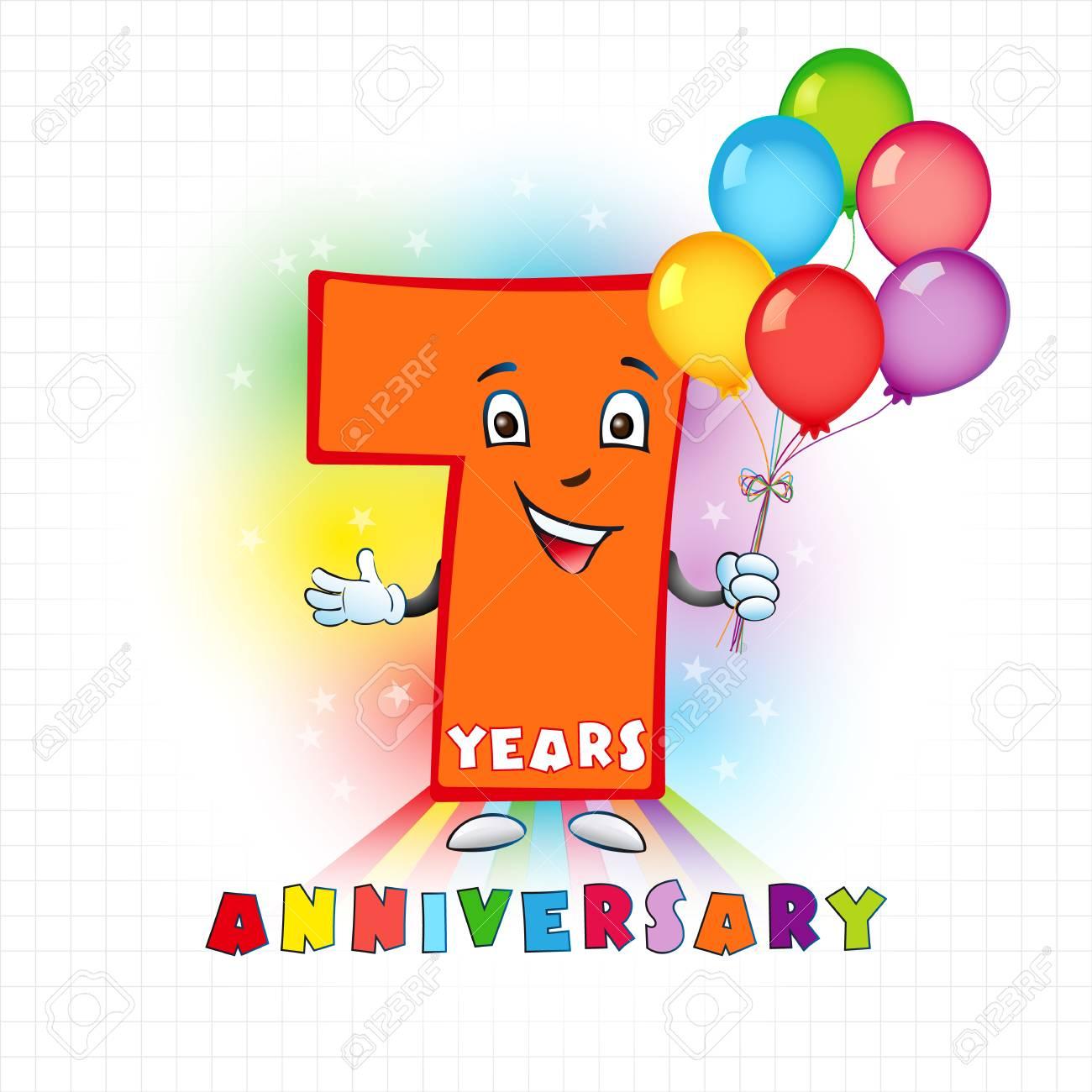 Logotipo Animado De Siete Años. 7 Aniversario Logotipo Divertido ...