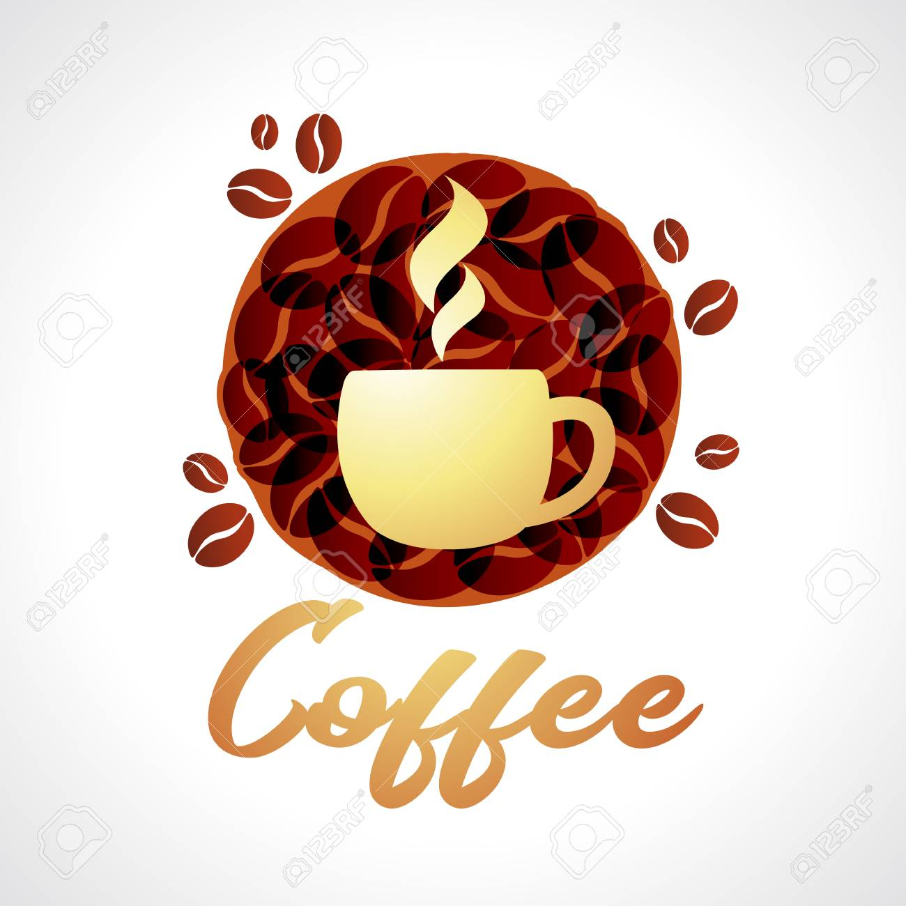 coffe grace cafe logo coffee icon vector illustration emblem