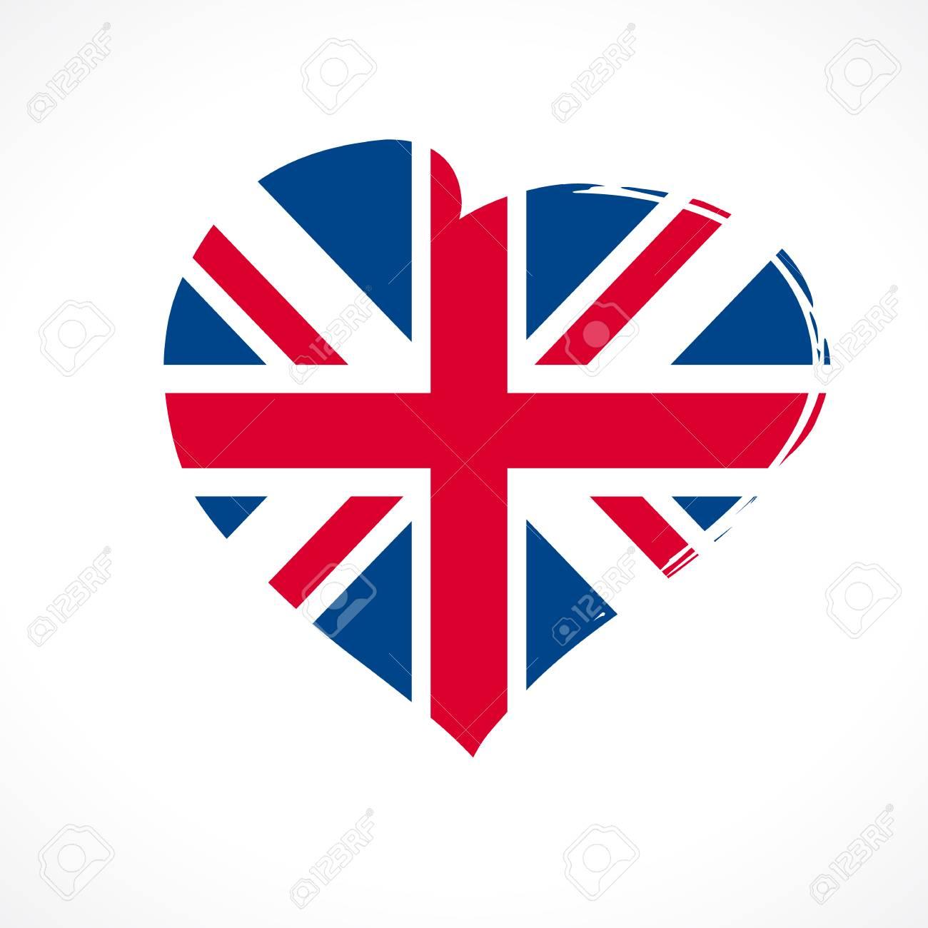 Amo El Emblema De La Bandera De British Union Jack Coloreado Bandera De Celebración Reino Unido Inglaterra Con Vector Curving Corazón Rojo Y Bandera
