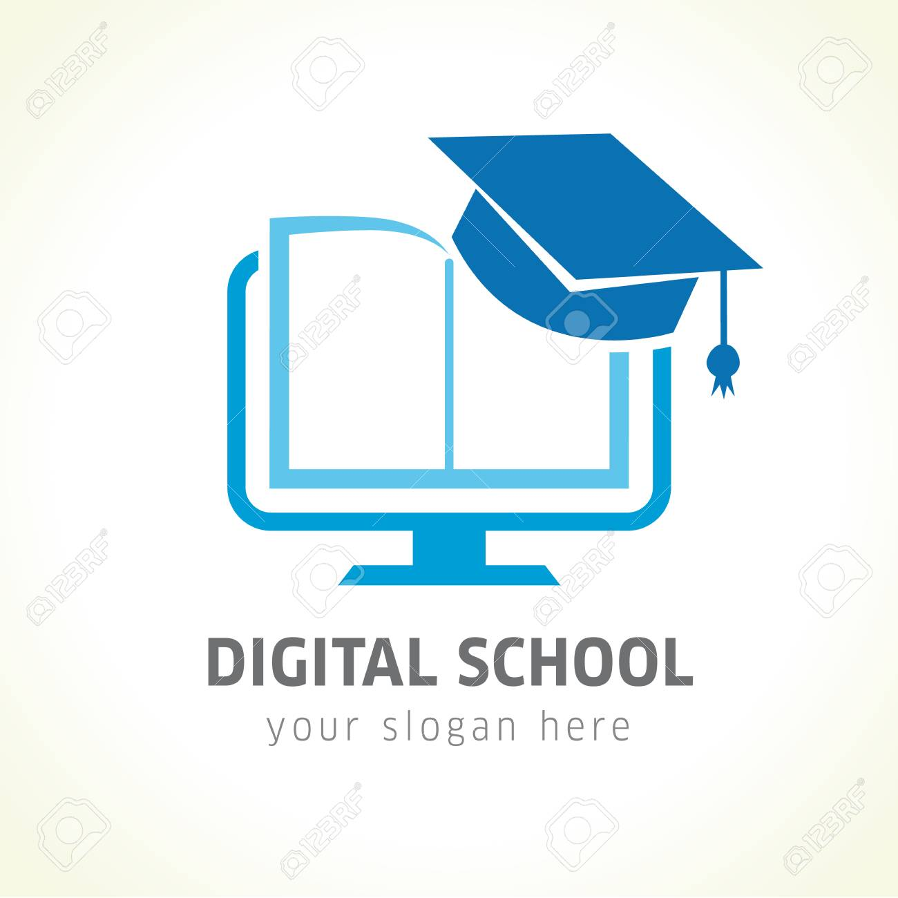 Digital school book online education logo. Digital school book online education logo. Digital open book with pages in monitor emblem and graduation hat. E-book or e-reader soft icon. On-line education blue vector sign - 86958559