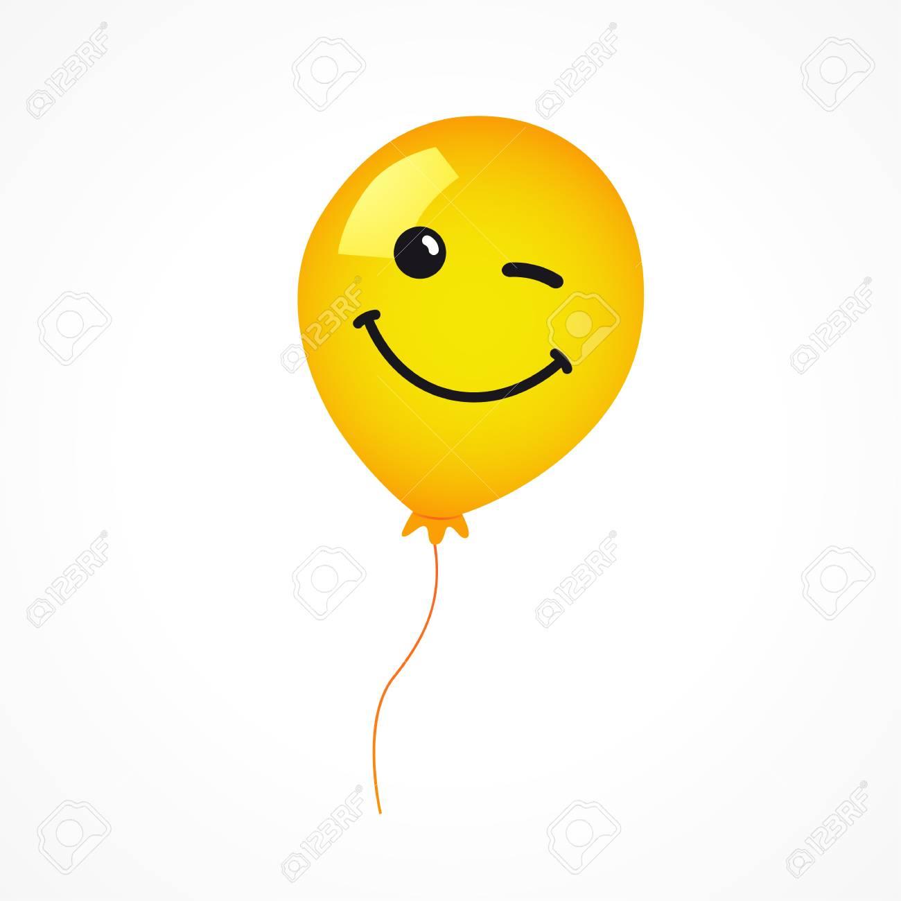 Winking Smile Of Yellow Helium Balloon On White Background