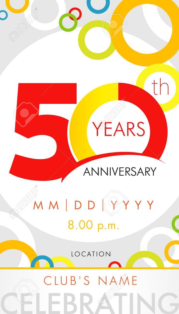 Carte Dinvitation Anniversaire 50 Ans Concept De Modèle De Célébration éléments De Design Moderne 50e Anniversaire Avec Des Cercles De Couleur