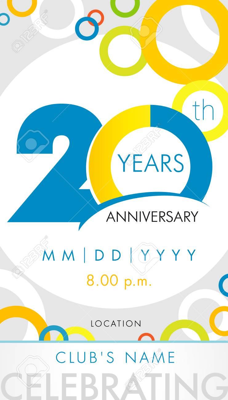 carte d invitation anniversaire 20 ans concept de modèle de