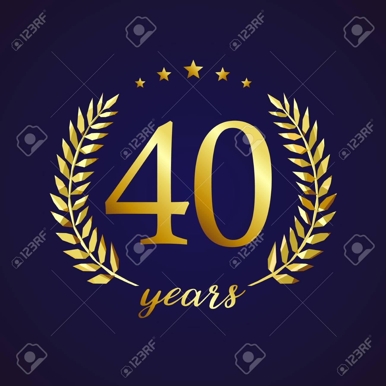 New 40 jaar oud luxe logo. Felicitaties 40e, 4e nummers in cirkel van &LL23