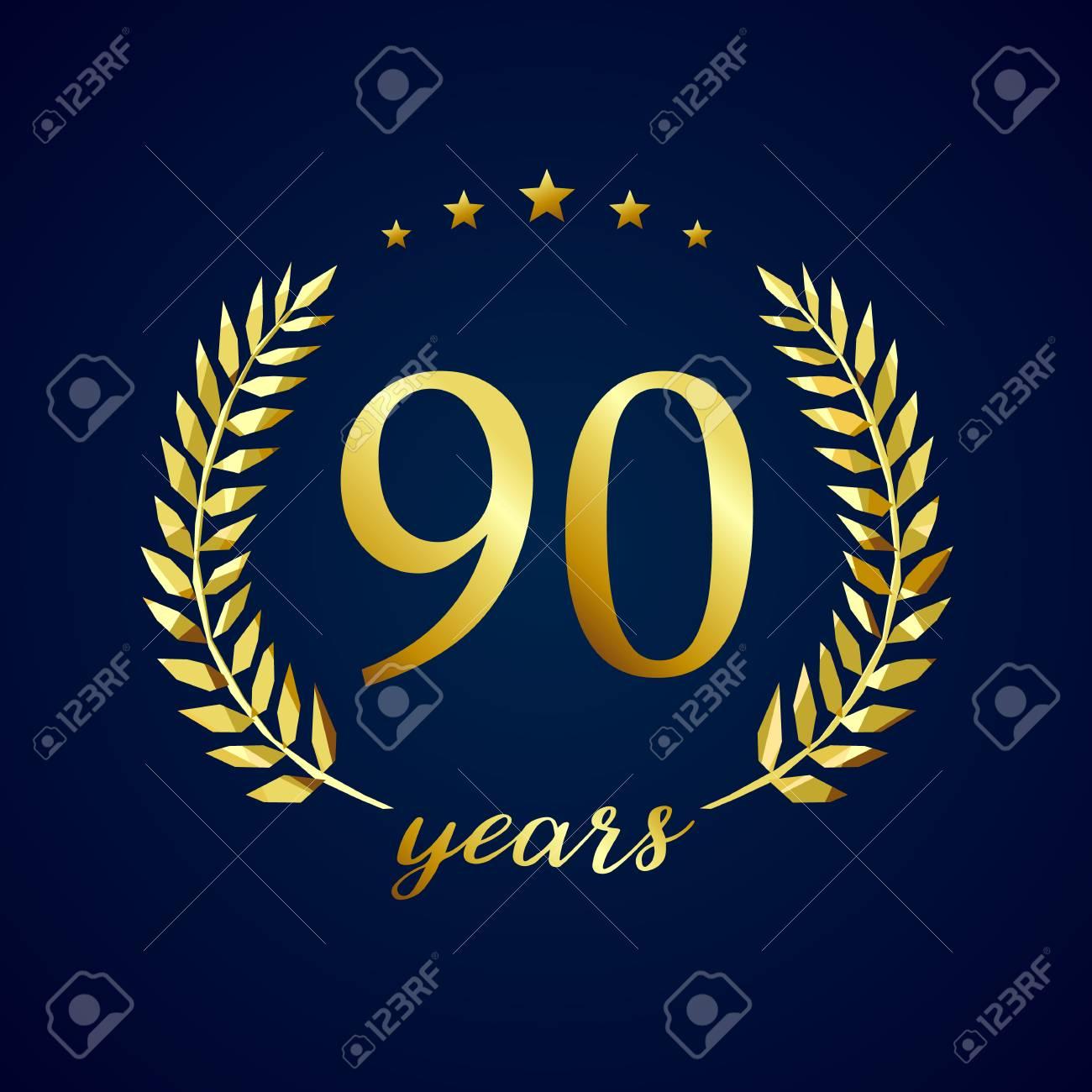 90 years old luxury logotype. Congratulating 90th. - 87822313
