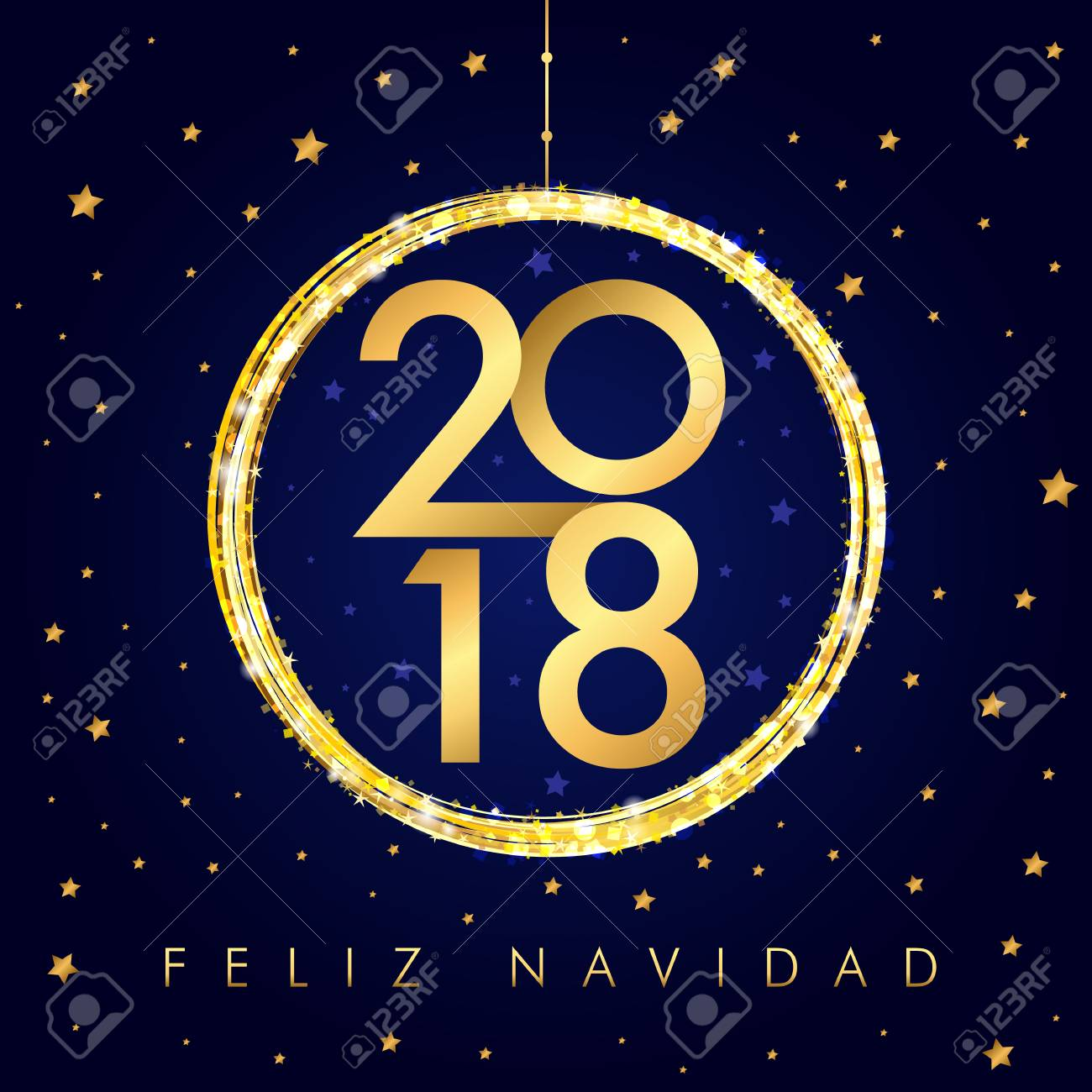 2018 feliz navidad happy new year golden ball card spanish merry christmas feliz navidad greeting