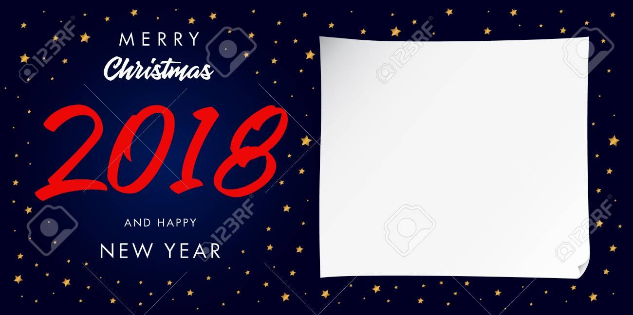 Presentaciones Feliz Navidad.Feliz Navidad 2018 Y Feliz Ano Nuevo Tarjeta De Felicitacion Caligrafica 2018 Ano Nuevo En El Fondo De Goldden Estrellas Para Presentaciones