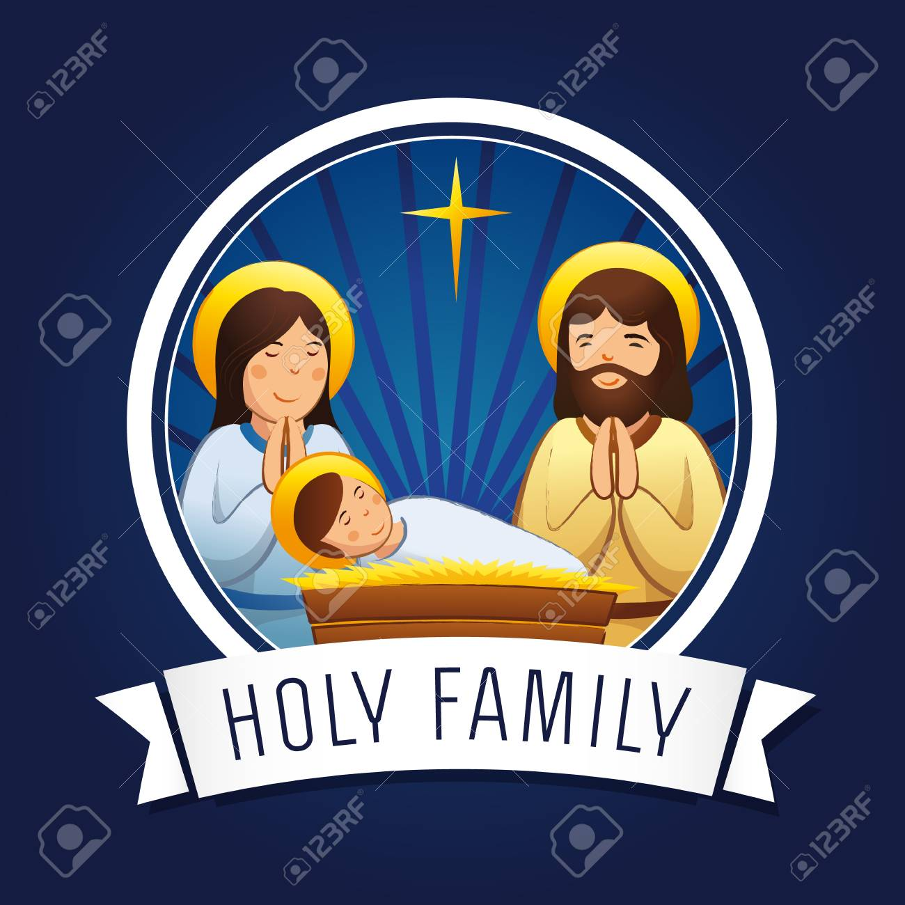 Merry Christmas, A Happy New Year Religious Greetings. Holy Family ...