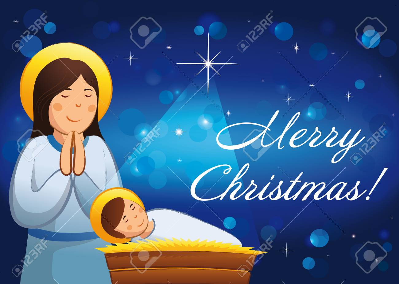 Merry Christmas, A Happy New Year Religious Greetings. Celebrating ...